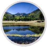 Reflections Of Blue  Round Beach Towel