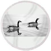 Reflections Of Geese Round Beach Towel