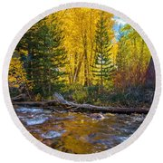 Reflections Of Gold Round Beach Towel