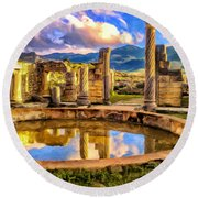 Reflections Of Past Glory Round Beach Towel