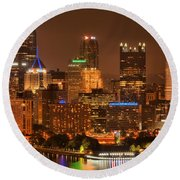 Reflections Of Pittsburgh Round Beach Towel
