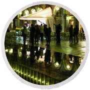 Reflections Of Saint Mark's Square-night Round Beach Towel