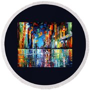 Reflections Of The Blue Rain - Palette Knife Oil Painting On Canvas By Leonid Afremov Round Beach Towel
