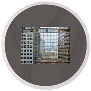 Reflections Of The Capitol Building In Denver Colorado Round Beach Towel