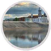 Reflections Of The Courthouse Round Beach Towel