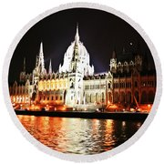 Reflections Of The Danube Round Beach Towel