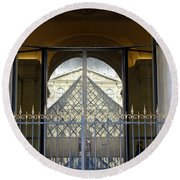 Reflections Of The Musee Du Louvre In Paris France Round Beach Towel