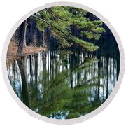 Reflections Of The Pine Round Beach Towel