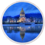 Reflections Of The West Virgina Capitol Building Round Beach Towel
