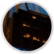 Reflections Of Times Square Round Beach Towel