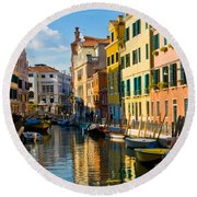 Reflections Of Venice II Round Beach Towel