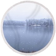 Reflections Of Winter Round Beach Towel