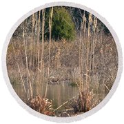 Reflections Of Winter Past 2014 Round Beach Towel
