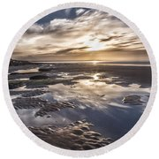 Reflections On A Beach Round Beach Towel