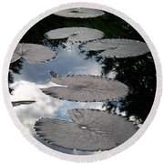 Reflections On A Lily Pond Monet Round Beach Towel