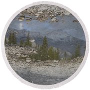 Reflections On A Mountain Stream Round Beach Towel