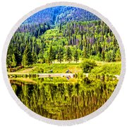 Reflections On A Summer Day - Vail - Colorado Round Beach Towel