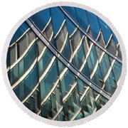 Reflections On Building Windows Round Beach Towel