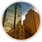 Reflections On Buildings Nyc Round Beach Towel