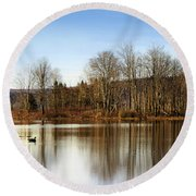 Reflections On Golden Pond Round Beach Towel