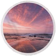 Reflections On North Jetty Dusk Round Beach Towel