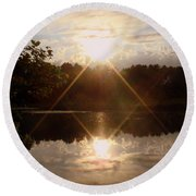 Reflections On The Bayou Round Beach Towel