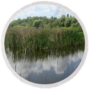 Reflections On The Lake Round Beach Towel