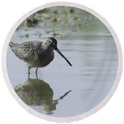 Reflections On The Pond Round Beach Towel