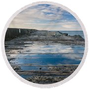 Reflections On The South Spit Round Beach Towel