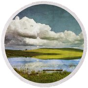 Reflections On Watership Down Round Beach Towel