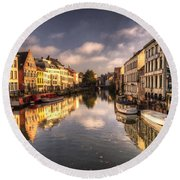 Reflections Over Ghent Round Beach Towel
