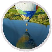 Reflections Over The Dechutes Round Beach Towel