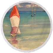 Reflections Round Beach Towel by The Beach  Dreamer
