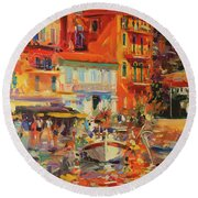 Reflections - Villefranche Round Beach Towel