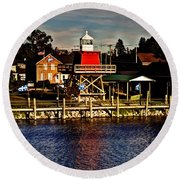 Reflections..two Rivers Pierhead Lighthouse Round Beach Towel
