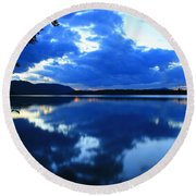 Reflective Blues On Lake Umbagog  Round Beach Towel