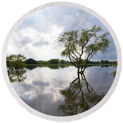 Reflective Flood Waters Round Beach Towel