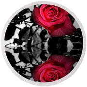 Reflective Red Rose Round Beach Towel