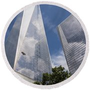 Reflective Skyscrapers Round Beach Towel