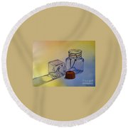 Reflective Still Life Jars Round Beach Towel by Brenda Brown