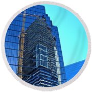 Reflective Towers Round Beach Towel