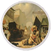 Refreshment Stall In St. Petersburg, 1858 Oil On Canvas Round Beach Towel