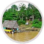 Refueling Along The Amazon River-peru  Round Beach Towel