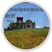 Refuge And Fortress Round Beach Towel