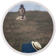 Refugee Girl Round Beach Towel by Joana Kruse