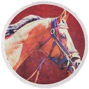Regal Racehorse Round Beach Towel