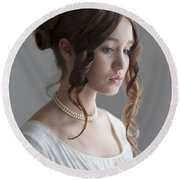 Regency Period Woman Portrait Beautiful Young  Round Beach Towel