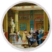 Rehearsal Of The Fluteplayer And The Diomedes Wife In The Atrium Of The Pompeian House Of Prince Round Beach Towel