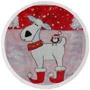 Reindeer Booties Round Beach Towel