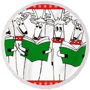 Reindeer Choir Round Beach Towel